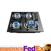 Built In Gas Cooktop Stove Lpg Ng Gas Hob 4 Burners Countertop Tempered Glass Us