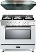 Verona Prestige Vpfsgg365w 36 All Gas 5 Burner Range Oven Hood Set White