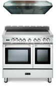 Verona Vefsee365dw 36 All Electric Double Oven Range 2pc Package W Hood White