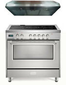 Verona Vdfsee365ss 36 Electric Range Convection Oven Stainless Steel 2 Pc Set