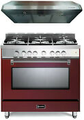 Verona Prestige Vpfsgg365bu 36 All Gas 5 Burner Range Oven Hood Set Burgundy