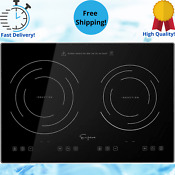 Horizontal Electric Stove Induction Cooktop 2 Burners Surface Glass 120v 12in