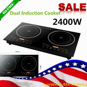 110v Electric Induction Cooker Cooktop 2400w Countertop 2 Burner Portable Cook