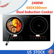 Portable Countertop Commercial Induction 2 Burner Electric Cooktop Cooker 2400w