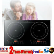 110v Electric Double Burner Dual Induction Cooker Cooktop 2400w Countertop