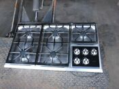 Wolf 5 Burner Gas Cooktop Stainless Steel Ct36g S 36 With Downdraft And Contro