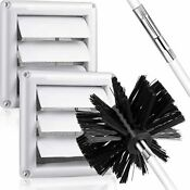 Mudder 5 Pieces Dryer Vent Cover Brush Kit Include 2 Louvered Vent Cap With Mesh