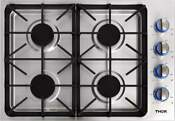 30 Inch Professional Drop In Gas Cooktop With Four Burners In Stainless Steel