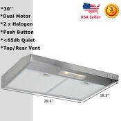 30 Kitchen Under Cabinet Stainless Steel Range Hood Exhaust Air Vented Led Lamp
