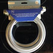 4 Ft Universal Washer Hoses Heavy Duty Stainless Steel