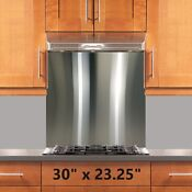 Range Hood Stove Backsplash 30x23 25in Stainless Steel Wall Shield W Hemmed Edge