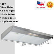 36 Under Cabinet Dual Fan Kitchen Stainless Steel Range Hood Top Rear Vented