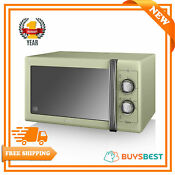 Swan 25l Retro Manual Microwave With 6 Power Levels 900w In Green Sm22070gn