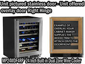Marvel Mp24wdf4rp 24 Inch Builtin Dual Zone Wine Cooler Overlay Door Right Hinge