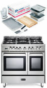 Verona Vefsge365ndss 36 Pro Style Dual Fuel Double Oven Range Stainless Package