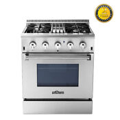 Thor Kitchen 30 Of 4 Burners 30 Duel Fuel Range Stainless Steel Hrd3088u