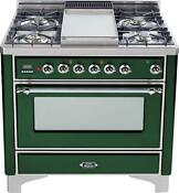 Ilve Um90fdmpvsx Majestic Series 36 Dual Fuel Gas Range Griddle Emerald Green