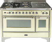 Ilve Um120sdmpax Majestic Pro 48 Dual Fuel Range Oven French Top Antique White