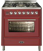 Ilve Umt76dmprb Majestic Techno Pro 30 Dual Fuel Range Single Oven Burgundy Red