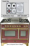 Ilve Umd100sdmprb Majestic 40 Dual Fuel Gas Range Double Oven French Top