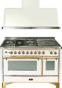 Ilve Um120sdmpb 48 Dual Fuel Range French Top Double Oven Hood Kitchen Package