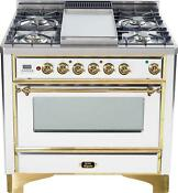 Ilve Um90fdvggb Majestic Series Pro 36 Gas Range Oven 4 Burners With Griddle