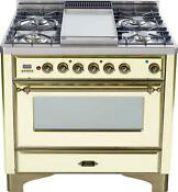 Ilve Um90fdmpay Majestic Series 36 Dual Fuel Range Oven With Griddle Oil Bronze