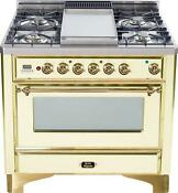 Ilve Um90fdmpa Majestic Series 36 Dual Fuel Range Oven Antique White Brass Trim