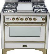 Ilve Um90fdvggiy Majestic Series 36 Pro Gas Range Oven 4 Burners With Griddle