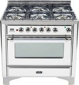 Ilve Um906dvggbx Majestic Pro 36 All Gas Range Oven 6 Burner True White