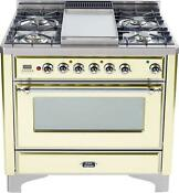 Ilve Um90fdmpax Majestic Pro 36 Dual Fuel Gas Range Oven With Griddle