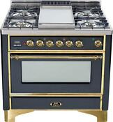 Ilve Um90fdmpm Majestic Series 36 Dual Fuel Range Convection Oven Brass Trim