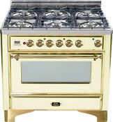 Ilve Um906dmpa Majestic 36 Dual Fuel Range 6 Burner Antique White Brass Trim