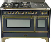 Ilve Um120sdmpmy Majestic 48 Dual Fuel Range Oven French Top Oven Bronze Trim