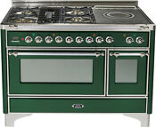 Ilve Um120sdmpvsx Pro 48 Dual Fuel Range Oven French Top Emerald Green