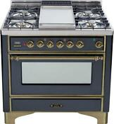 Ilve Um90fdmpmy Majestic Pro 36 Dual Fuel Range Single Oven Oil Bronze