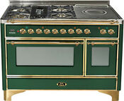 Ilve Um120sdmpvs 48 Pro Dual Fuel Range French Top Double Oven Emerald Green
