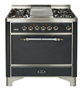 Ilve Umc90fdmpmx Majestic 36 Pro Dual Fuel Gas Range Single Oven Solid Door