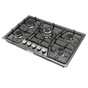 30 Titanium Stainless Steel Built In Stove Lpg Ng Gas Hob 5 Burners C
