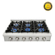 Thor Kitchen 36 Stainless Steel Gas Range Top Counter Glass Flat Portable