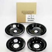 W10288051 Genuine Oem Whirlpool Stove Drip Pans Black Two 6 Inch Two 8 Inch