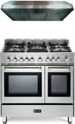 Verona Vefsgg365ndss 36 Pro Style All Gas Range Double Oven Kitchen Package