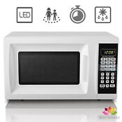 0 7 Cu Ft Countertop Microwave Oven White Cabinet Led Compact Small Kitchen New