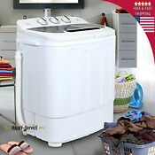 Top White Load Mini Washing Machine Compact Twin Tub 13lb Washer Spin Dryer Po