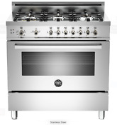 Bertazzoni Pro366gasx 36 Stainless Steel Gas Range 6 Burner Convection Oven New