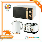Tower 20l Microwave 1 7l Kettle 4 Slice Slot Toaster Set In White Rose Gold