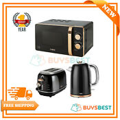 Tower 20l Solo Microwave 1 7l Kettle 2 Slice Toaster Set In Black Rose Gold