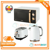 Tower 20l Solo Microwave 1 7l Kettle 2 Slice Toaster Set In White Rose Gold