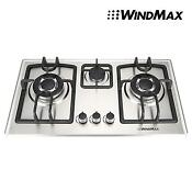 28 In Silver Stainless Steel 3 Burner Built In Stovelpg Ng Gas Cooktop Cooker