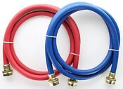Universal Washer Hose 6ft Rubber Laundry Washing Machine Hoses Blue Red 2 Pack